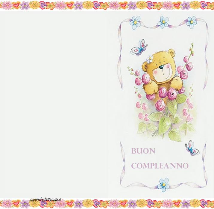 Ben noto Biglietti di auguri di Buon Compleanno con i fiori e orsetto NG95