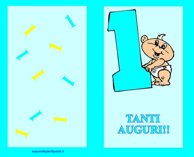 biglietto azzurro per il compleanno di un bambino di 1 anno con un grande uno azzurro e bambino piccolo