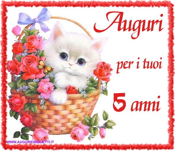 Romantico biglietto di auguri per i 5 anni con gatto e fiori