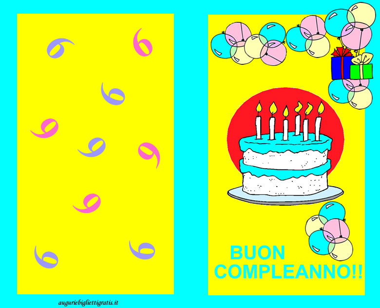 Biglietto di buon compleanno per bambini di 6 anni con torta con le candeline